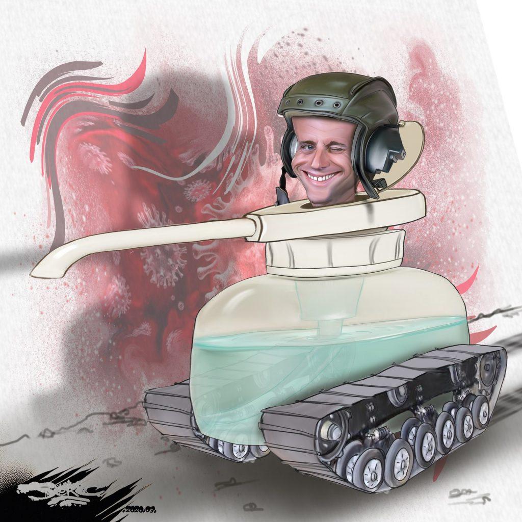 dessin d'actualité humoristique de Jerc sur l'épidémie de coronavirus Covid-19 et la déclaration de guerre d'Emmanuel Macron
