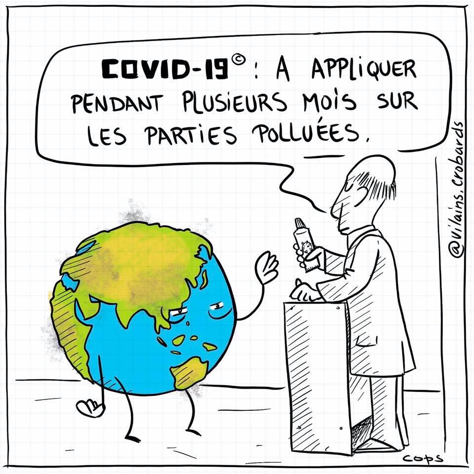 dessin de Cops sur l'épidémie de coronavirus Covid-19 et la pollution de la planète