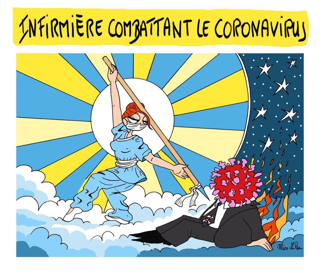 dessin de Miss Lilou sur l'épidémie de coronavirus Covid-19, et les infirmières en guerre contre le coronavirus