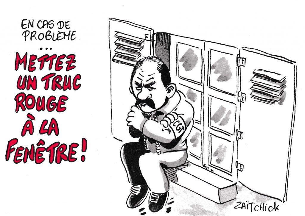 dessin de Zaïtchick sur l'épidémie de coronavirus Covid-19 et le secrétaire général de la CGT Philippe Martinez