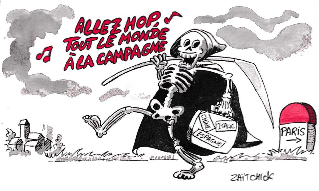 dessin de Zaïtchick sur l'épidémie de coronavirus Covid-19 et l'exode des parisiens vers la campagne