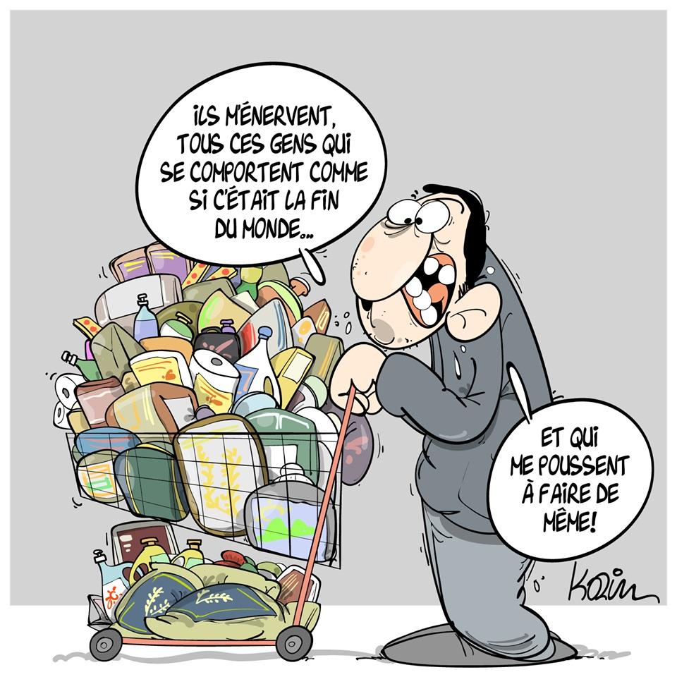 dessin d'actualité humoristique de Karim sur l'épidémie de coronavirus Covid-19 et la ruée sur les magasins