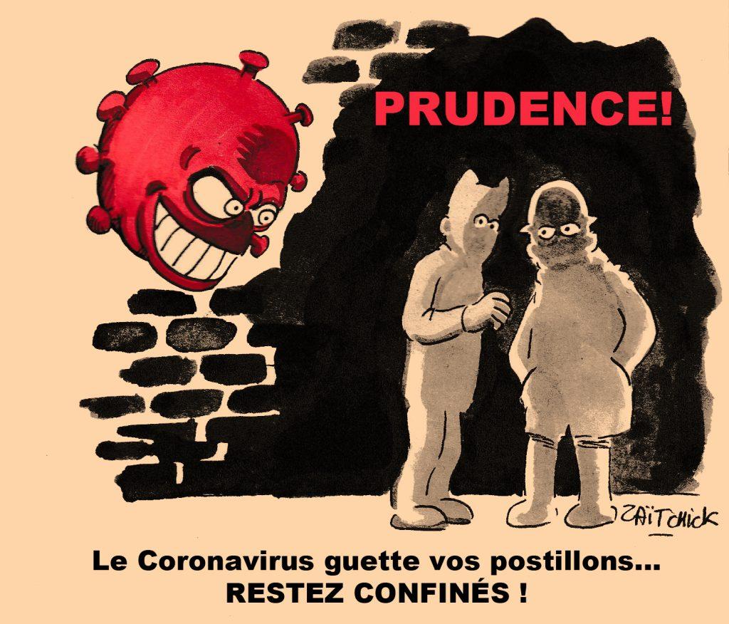 dessin de Zaïtchick sur l'épidémie de coronavirus Covid-19 et l'importance du confinement