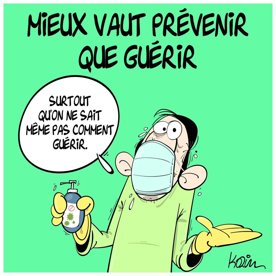 dessin d'actualité humoristique de Karim sur l'épidémie de coronavirus Covid-19 et prévention nécessaire
