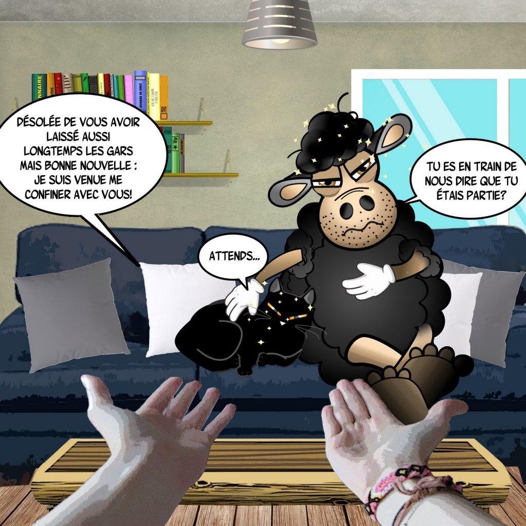 dessin d'actualité humoristique sur l'épidémie de Covid-19, le confinement et le retour des moutons noirs