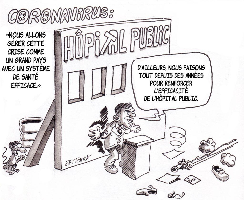 dessin humoristique de Zaïtchick sur Olivier Véran et le système de santé français face à l'épidémie de coronavirus