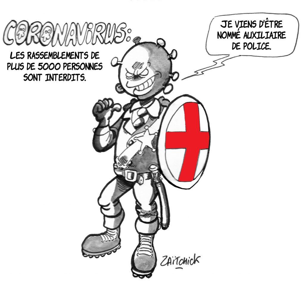 dessin de Zaïtchick sur Édouard Philippe et Christophe Castaner après l'interdiction des rassemblements pour contenir l'épidémie de Covid-19