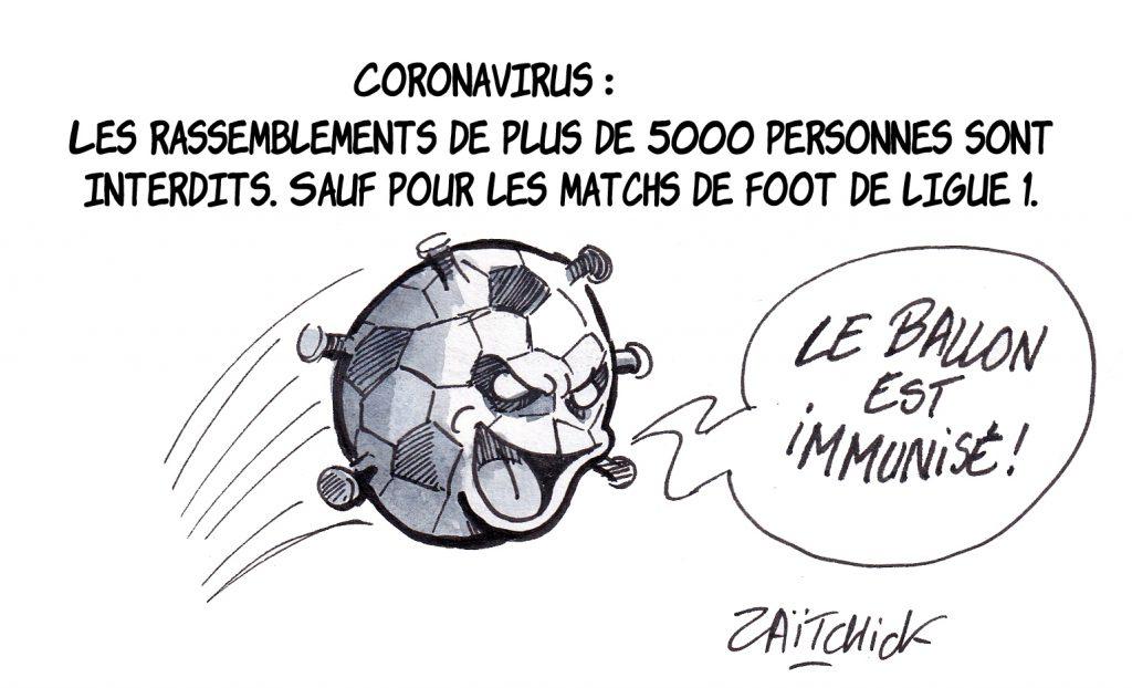 dessin de Zaïtchick sur le Coronavirus Covid-19 et l'interdiction des rassemblements pour faire face à la pandémie