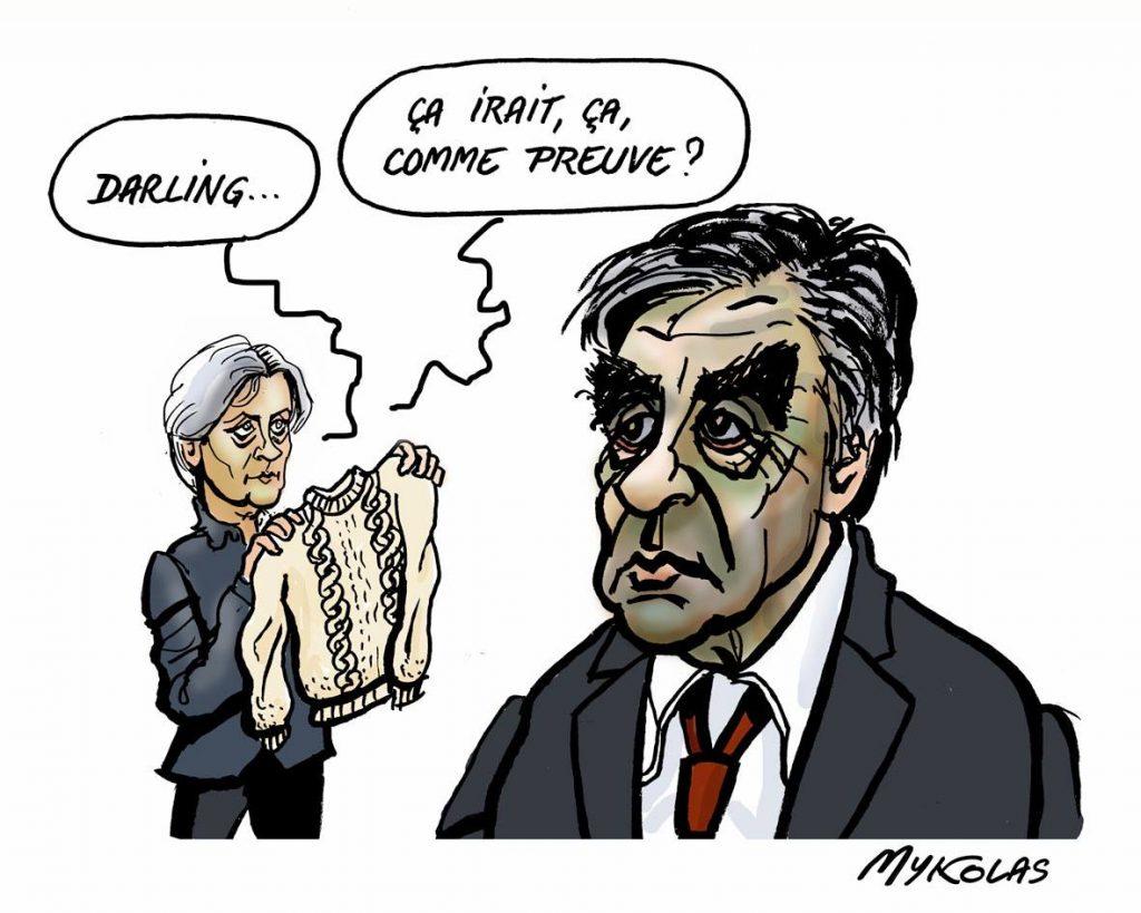 dessin d'actualité humoristique de Mykolas sur le difficile défense de François Fillon et Penelope Fillon lors de leur procès pour emploi fictif