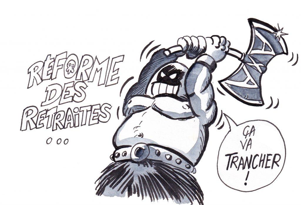 dessin de Zaïtchick sur la réforme des retraites passée en force avec l'usage du 49.3 et les soupçons de collusions avec AXA