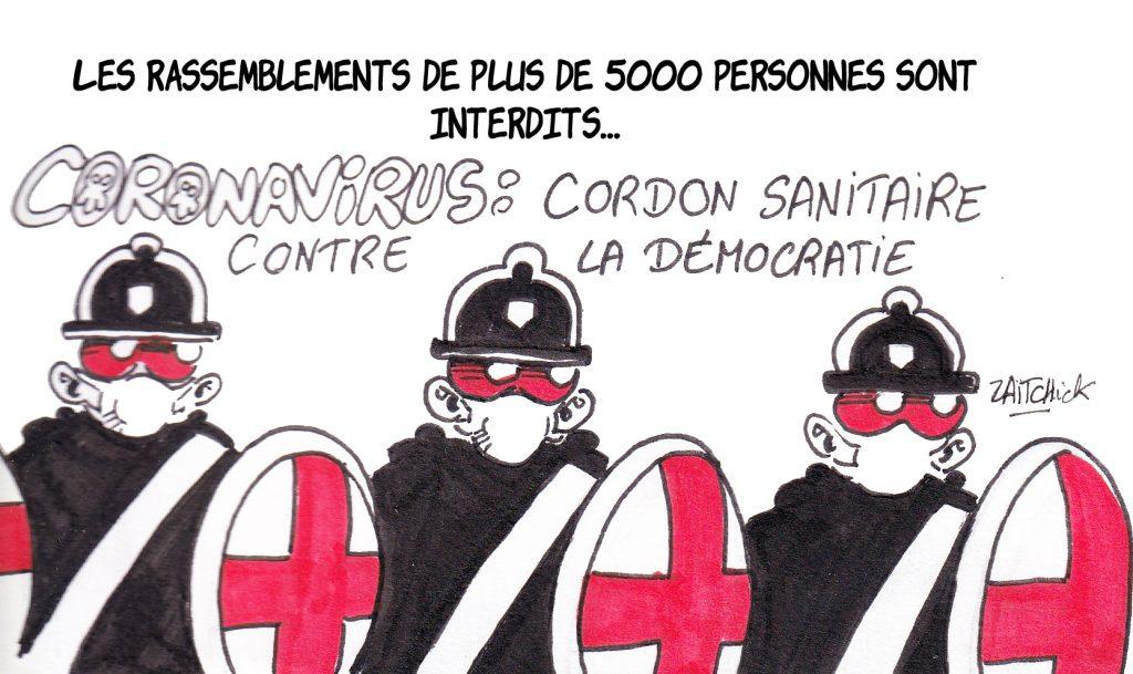 dessin humoristique de Zaïtchick sur l'interdiction des rassemblements pour contenir l'épidémie de Covid-19