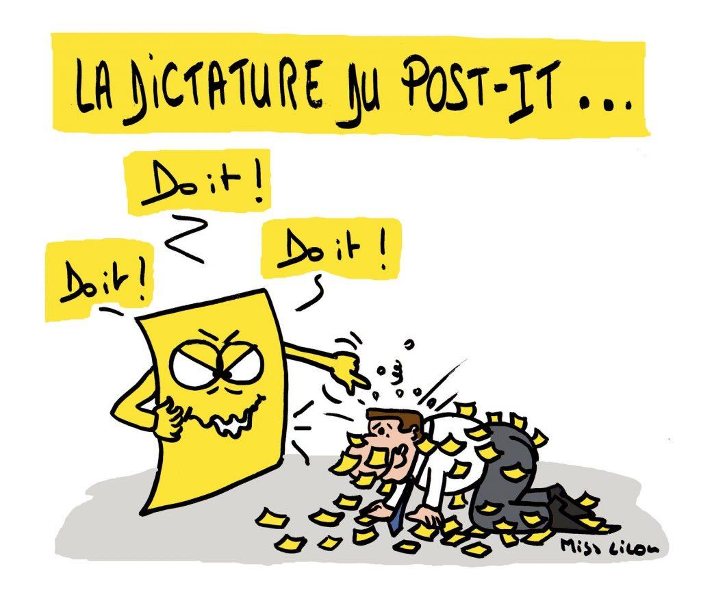 dessin de Miss Lilou sur la dictature des post-it