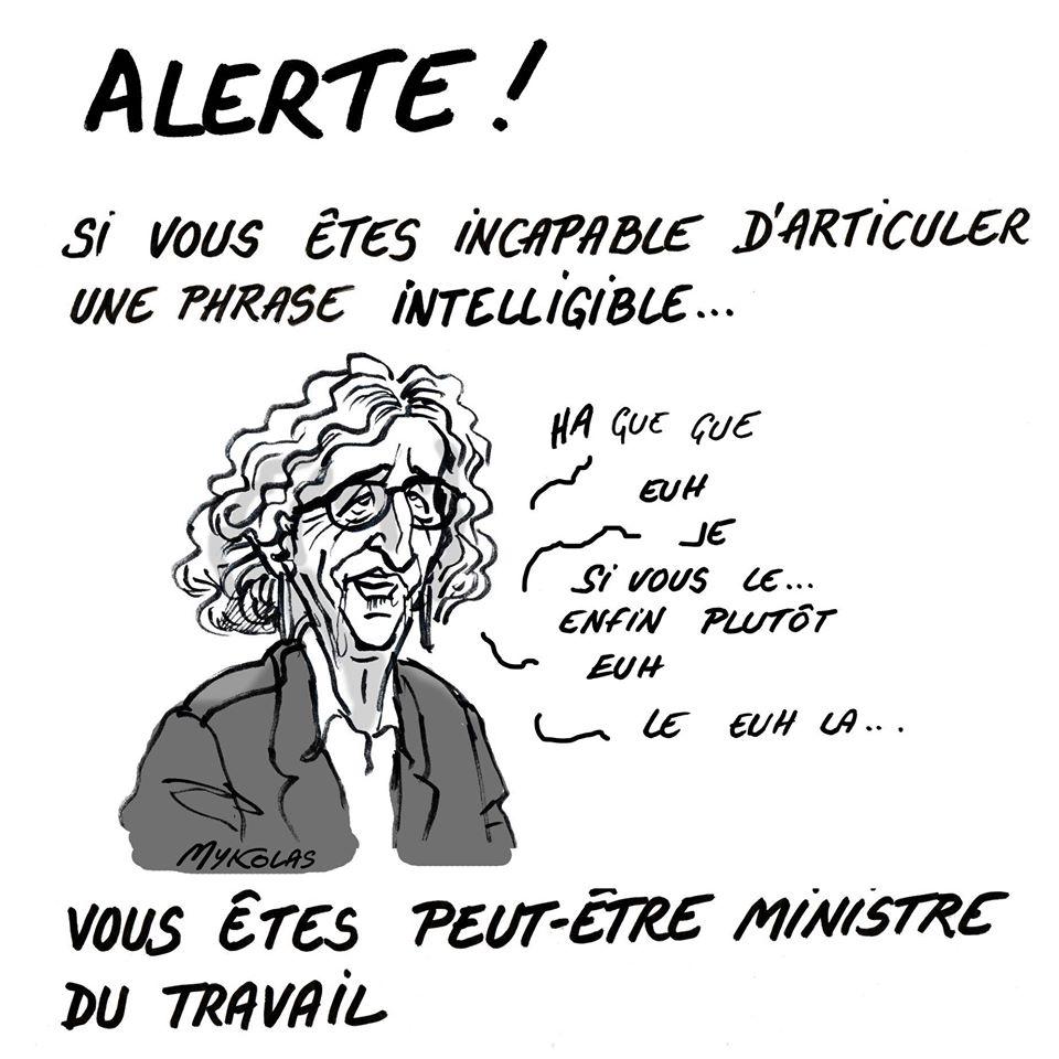 dessin d'actualité humoristique de Mykolas sur l'épidémie de covid-19 et le discours de Muriel Pénicaud