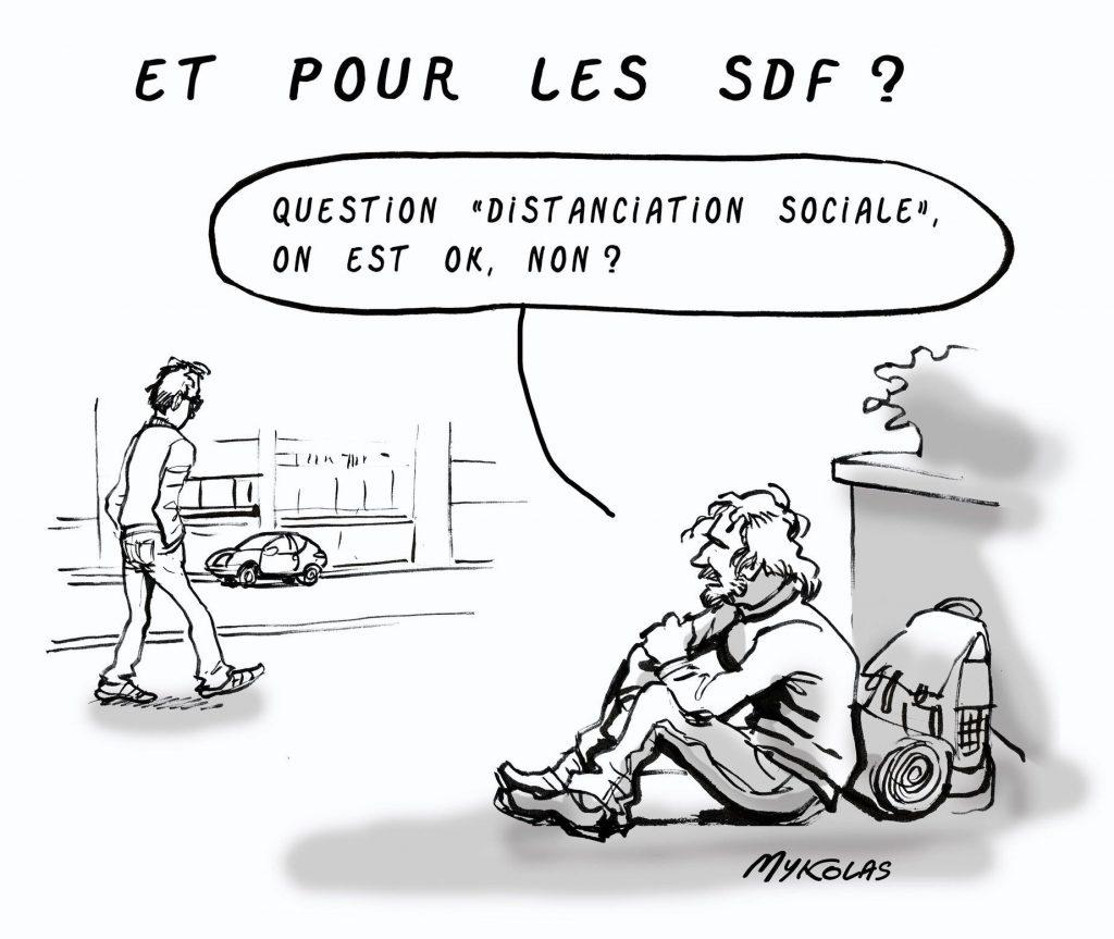 dessin d'actualité humoristique de Mykolas sur l'épidémie de covid-19 et les SDF