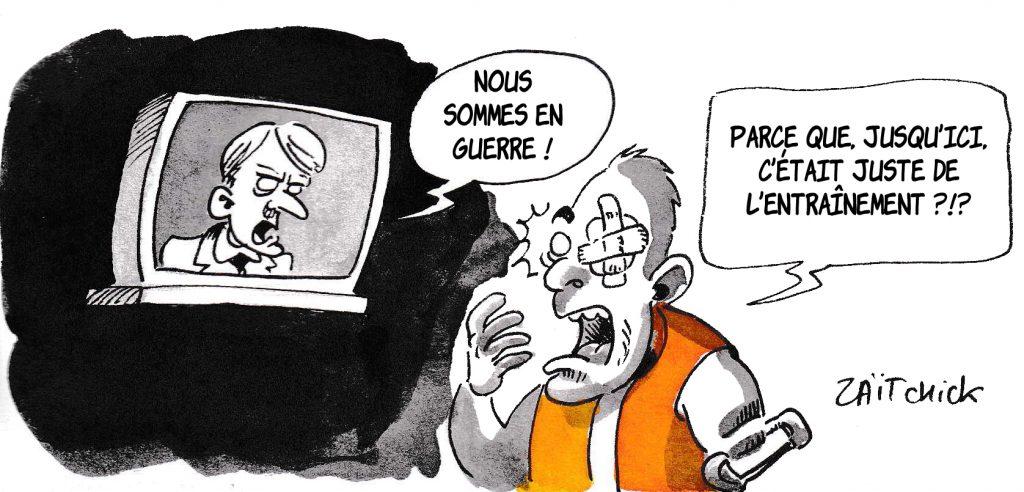 dessin de Zaïtchick sur l'épidémie de coronavirus, la déclaration de guerre d'Emmanuel Macron et les gilets jaunes victimes de violences policières