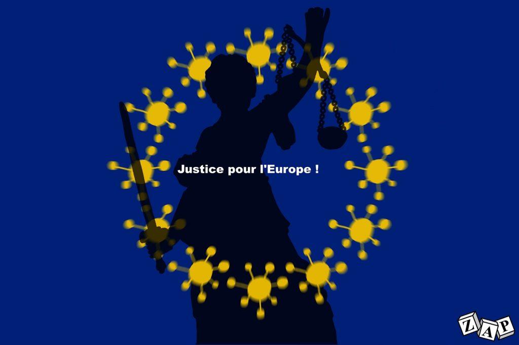 dessin d'actualité de Zap sur l'épidémie du Covid-19 et l'impuissance de l'Union Européenne