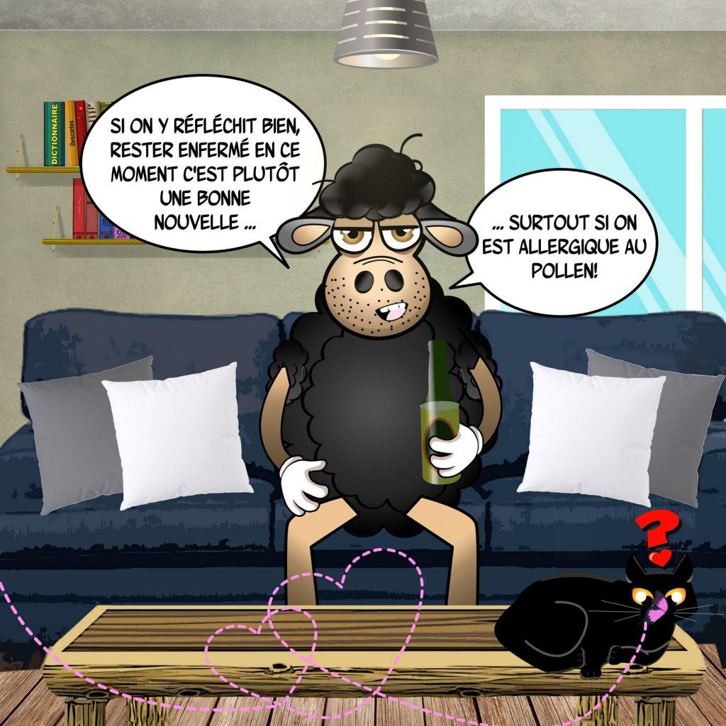 dessin d'actualité humoristique sur l'épidémie de Covid-19, le confinement et le retour du printemps avec les allergies au pollen