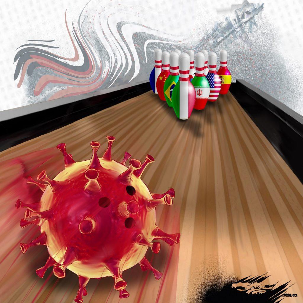 dessin d'actualité humoristique de Jerc sur le monde face à l'épidémie de coronavirus Covid-19