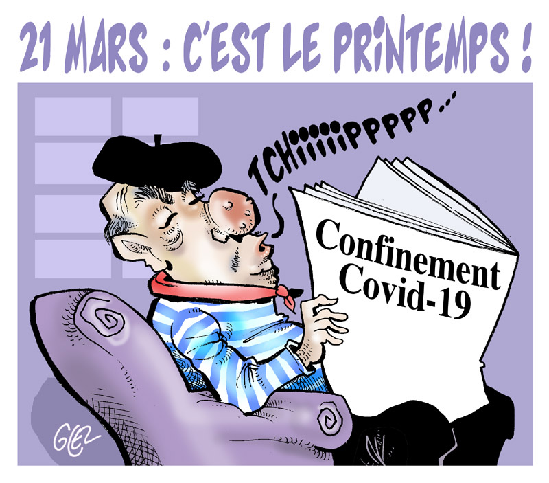 dessin humoristique de Glez sur l'épidémie de Covid-19, le confinement et le retour du printemps