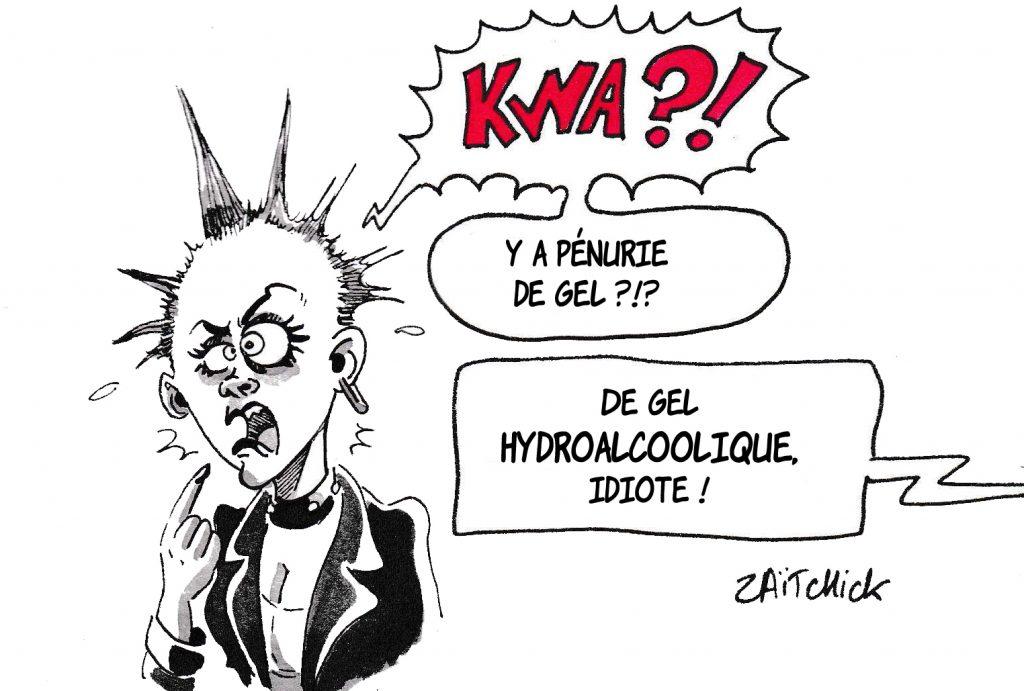 dessin de Zaïtchick sur l'épidémie de Covid-19 et la pénurie de gel hydroalcoolique