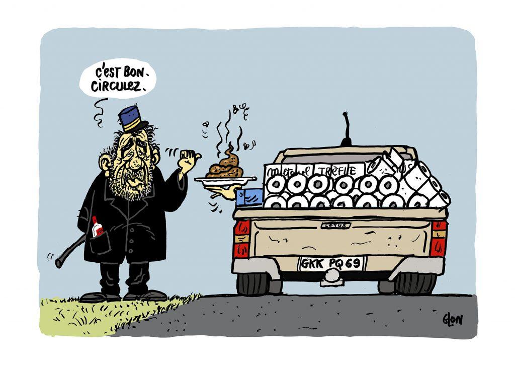 dessin humoristique de Glon sur l'épidémie de Covid-19 et les attestations de déplacement dérogatoire