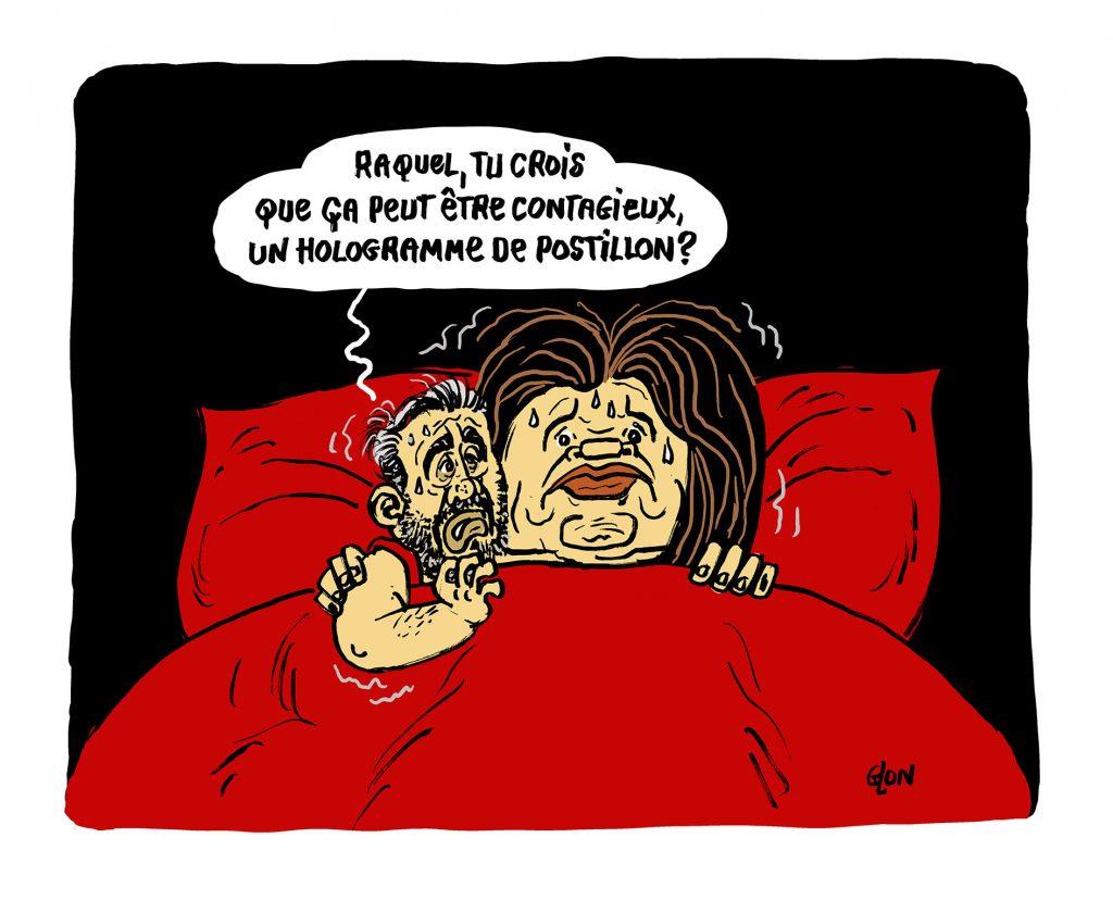 dessin humoristique de Glon sur l'épidémie de Covid-19 et le confinement de Raquel Garrido et Alexis Corbière