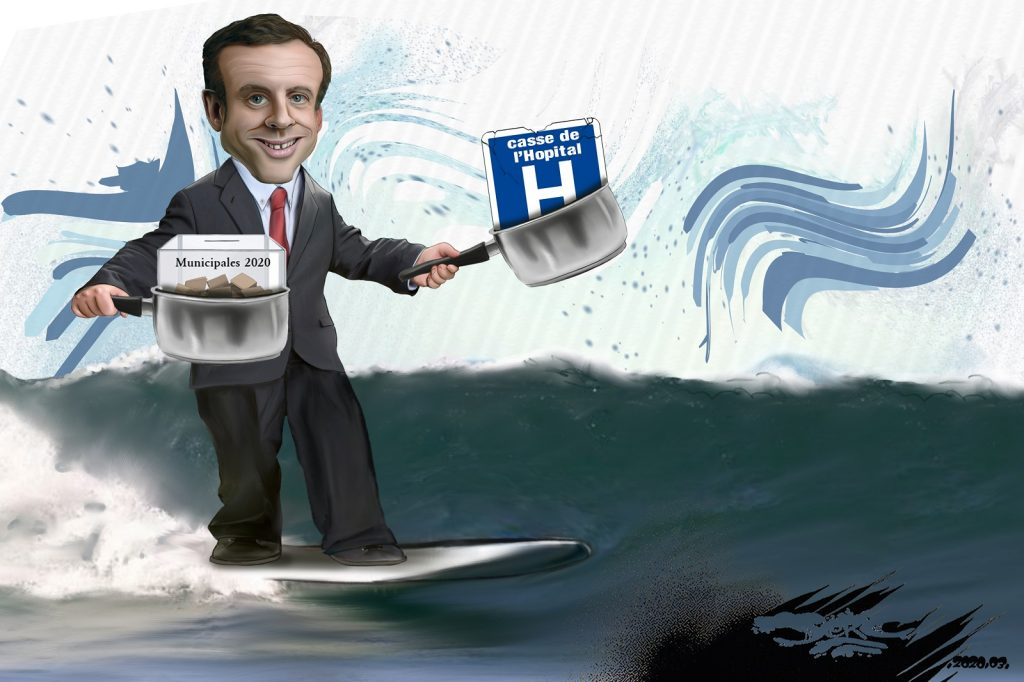 dessin d'actualité humoristique de Jerc sur Emmanuel Macron surfant sur la crise générée par l'épidémie de Covid-19