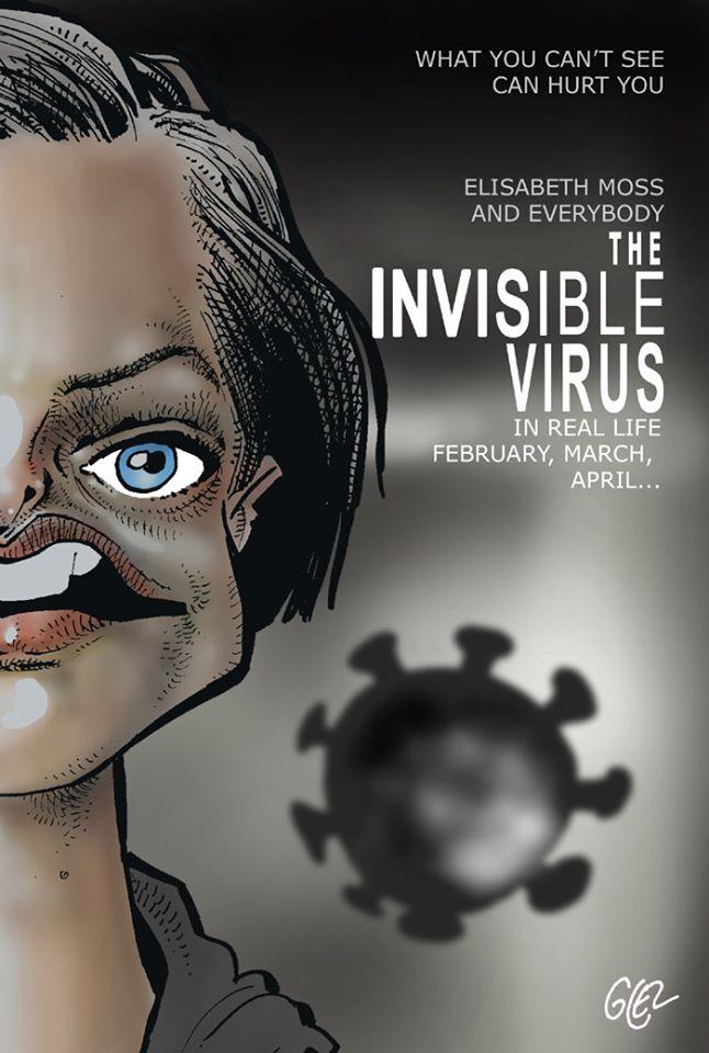 dessin humoristique de Glez sur l'épidémie de coronavirus Covid-19 et le film Invisible Man