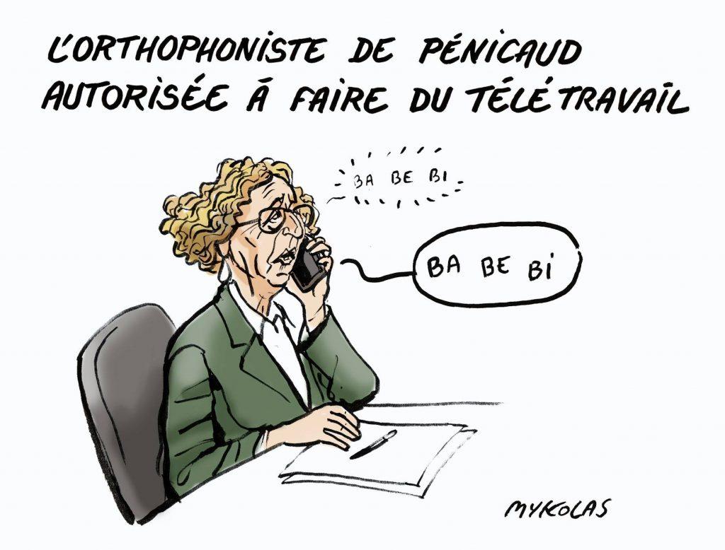 dessin d'actualité humoristique de Mykolas sur l'épidémie de covid-19 et les difficultés langagières de Muriel Pénicaud