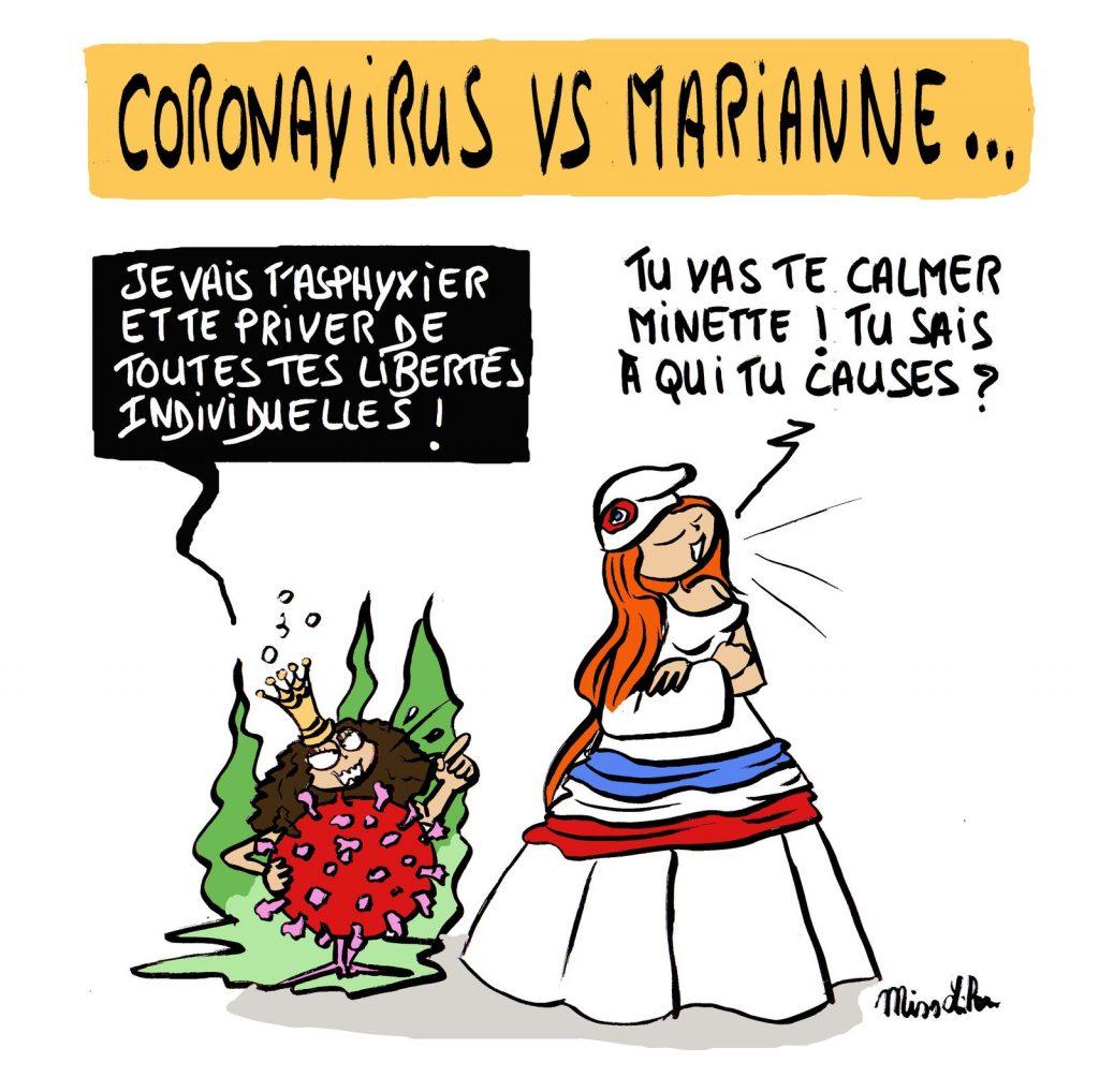 dessin de Miss Lilou sur l'épidémie de coronavirus Covid-19 et la privation des libertés individuelles