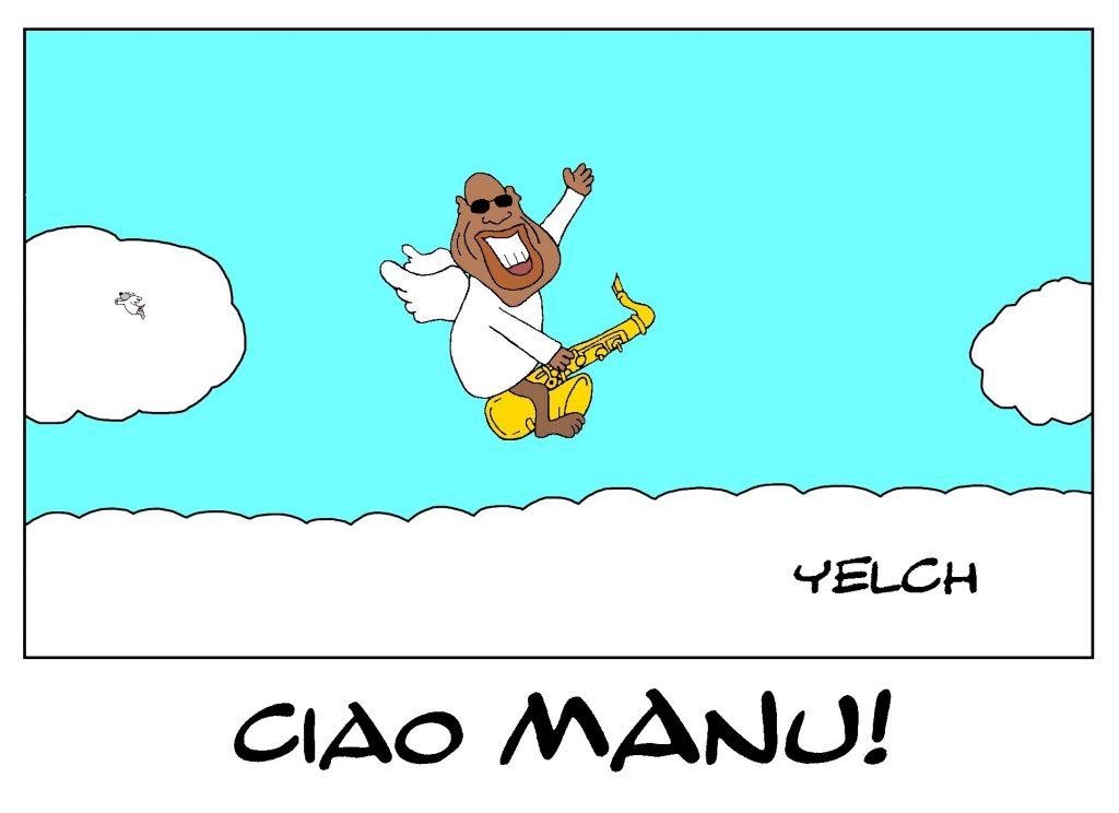dessin de Yelch sur la disparition de Manu Dibango, victime de l'épidémie de Covid-19