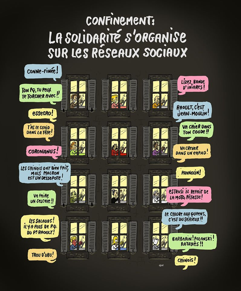 dessin humoristique de Glon sur l'épidémie de Covid-19 et les français sur les réseaux sociaux
