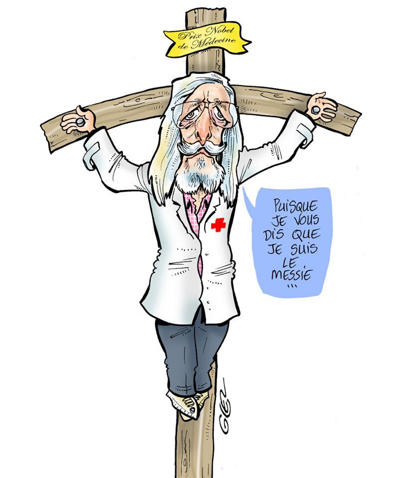 dessin humoristique de Glez sur l'épidémie de Covid-19 et le traitement à la chloroquine du professeur Raoult