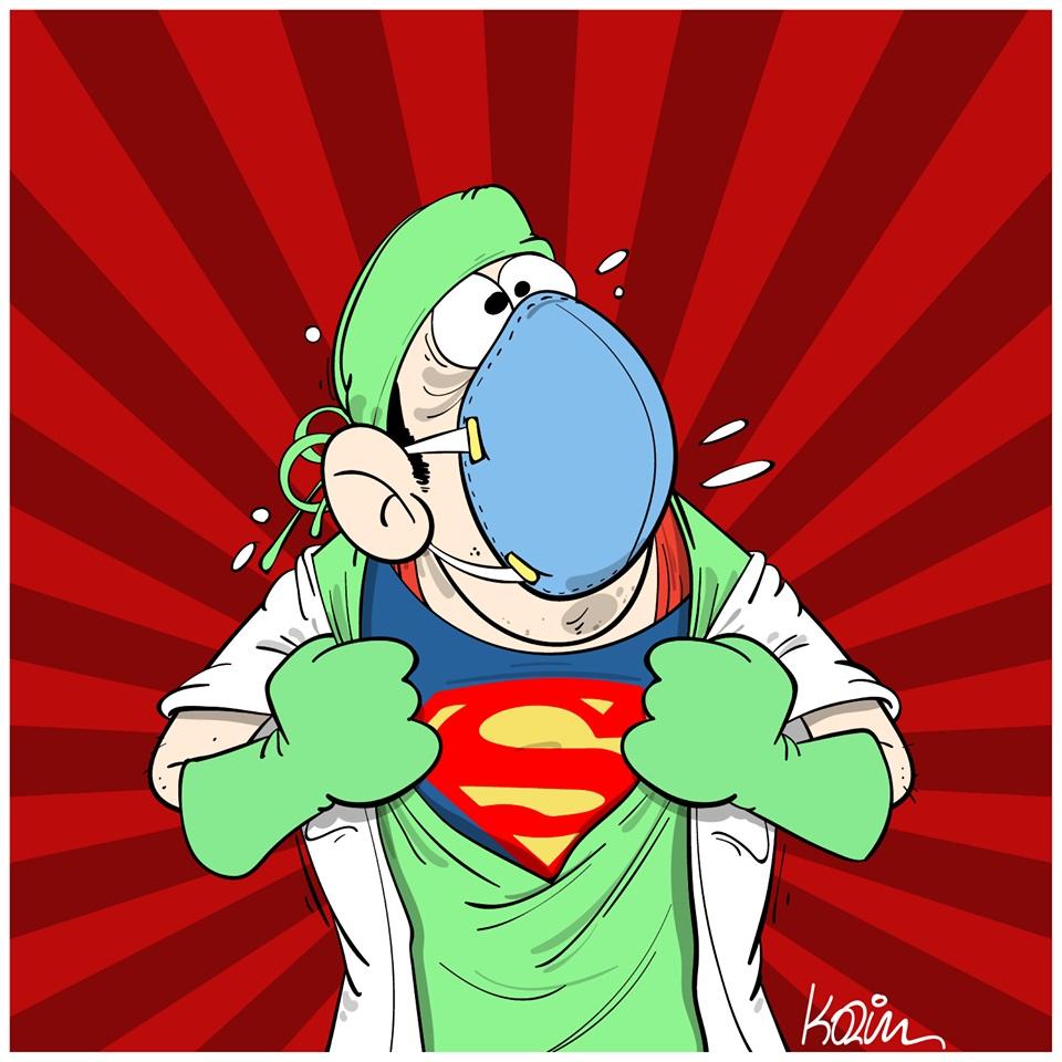 dessin d'actualité humoristique de Karim sur l'épidémie de Covid-19 et le courage des soignants en première ligne