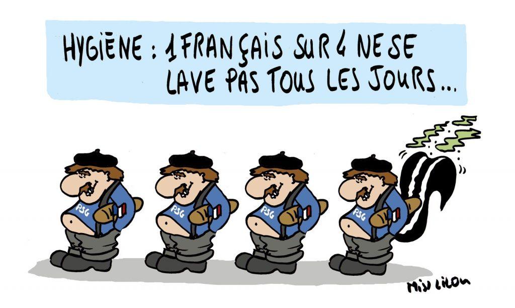 dessin de Miss Lilou sur l'hygiène des français