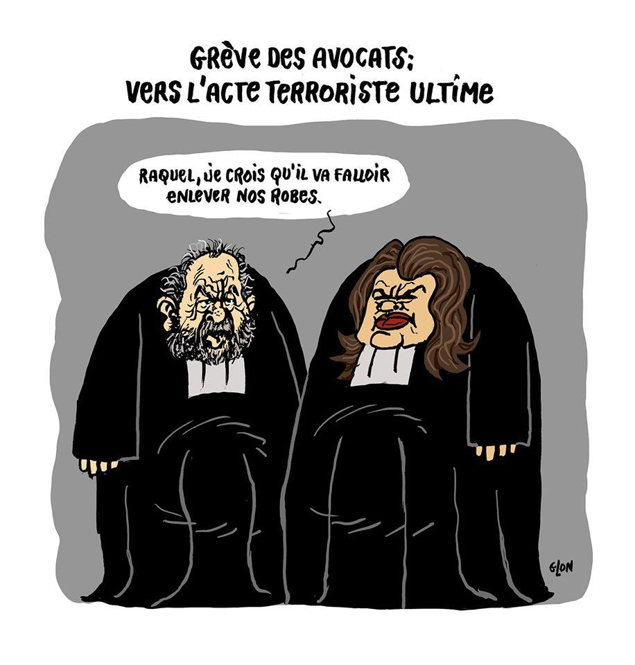 dessin humoristique de Glon sur la grève des avocats vu par Raquel Garrido et Éric Dupond-Moretti
