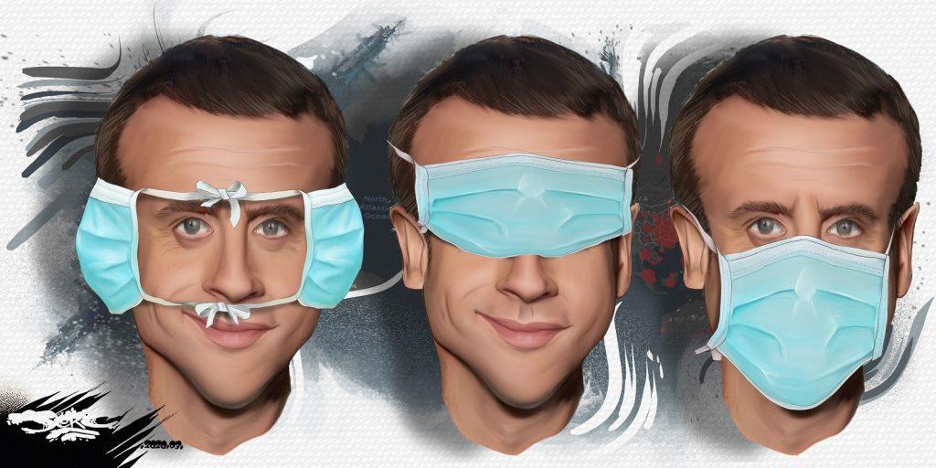 dessin d'actualité humoristique de Jerc sur l'épidémie de Covid-19 et la gestion de la crise sanitaire par Emmanuel Macron
