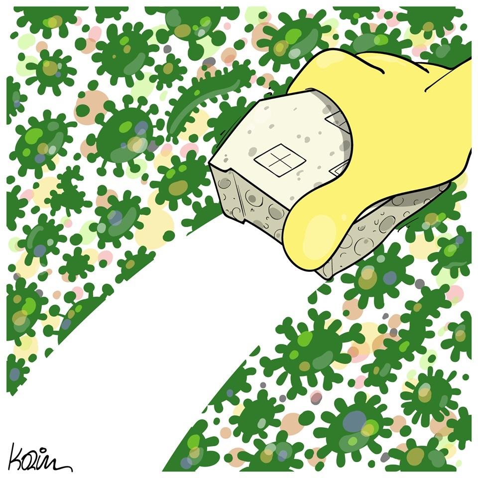 dessin d'actualité humoristique de Karim sur l'épidémie de Covid-19, le confinement et la désinfection des maisons et espaces partagés