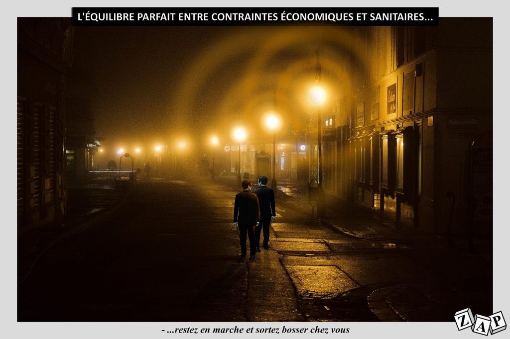 dessin d'actualité de Zap sur l'épidémie de covid-19 et le double impératif des contraintes économiques et sanitaires
