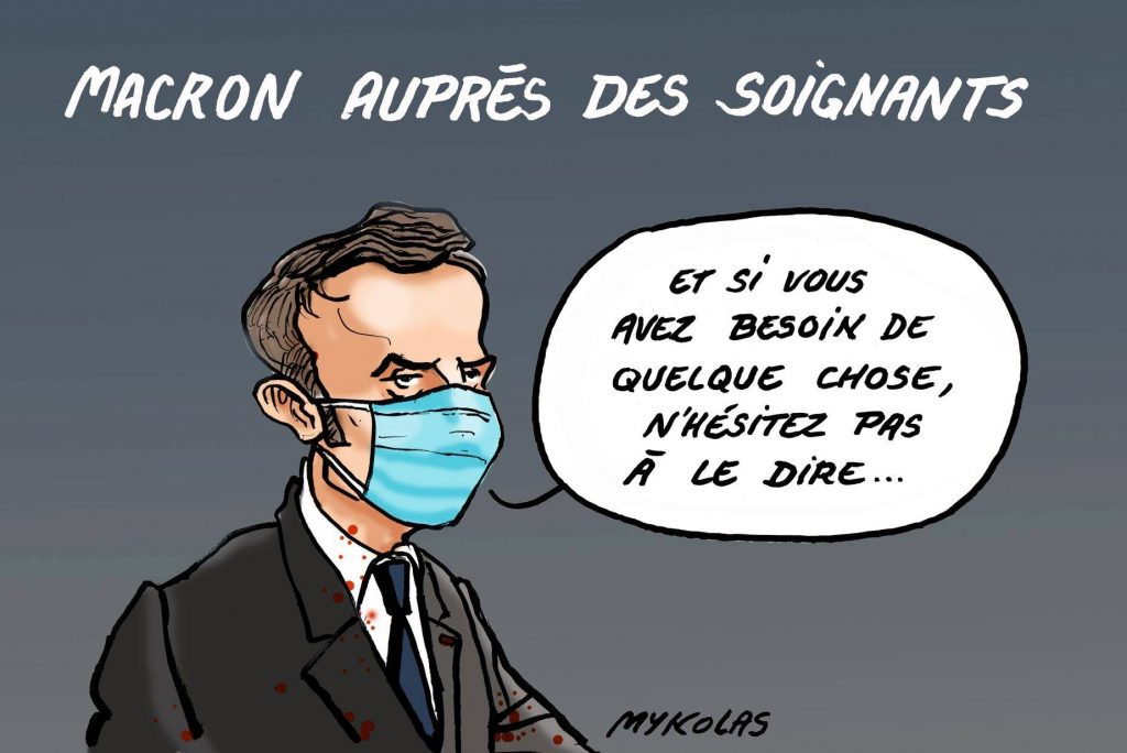 dessin d'actualité humoristique de Mykolas sur l'épidémie de covid-19 et les promesses d'Emmanuel Macron envers les soignants