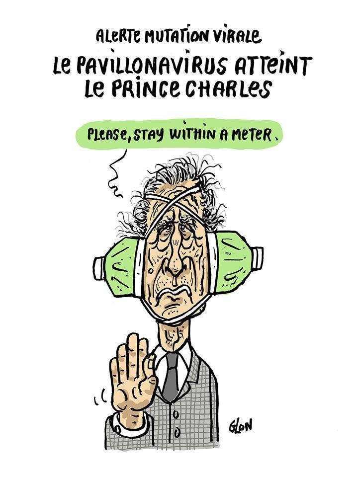 dessin humoristique de Glon sur l'épidémie de Covid-19, et la contamination du Prince Charles