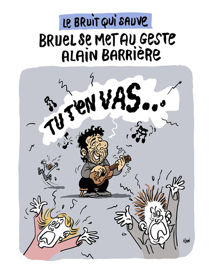 dessin humoristique de Glon sur l'épidémie de Covid-19 et la distanciation sociale vue par Patrick Bruel