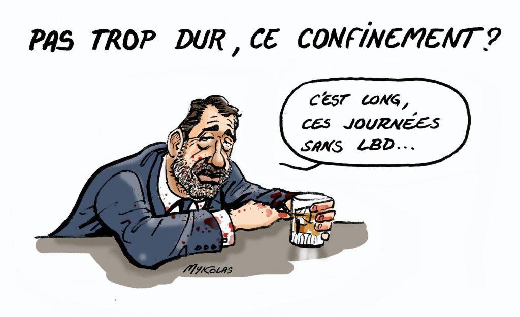 dessin d'actualité humoristique de Mykolas sur l'épidémie de covid-19 et Christophe Castaner qui trouve le temps long sans LBD