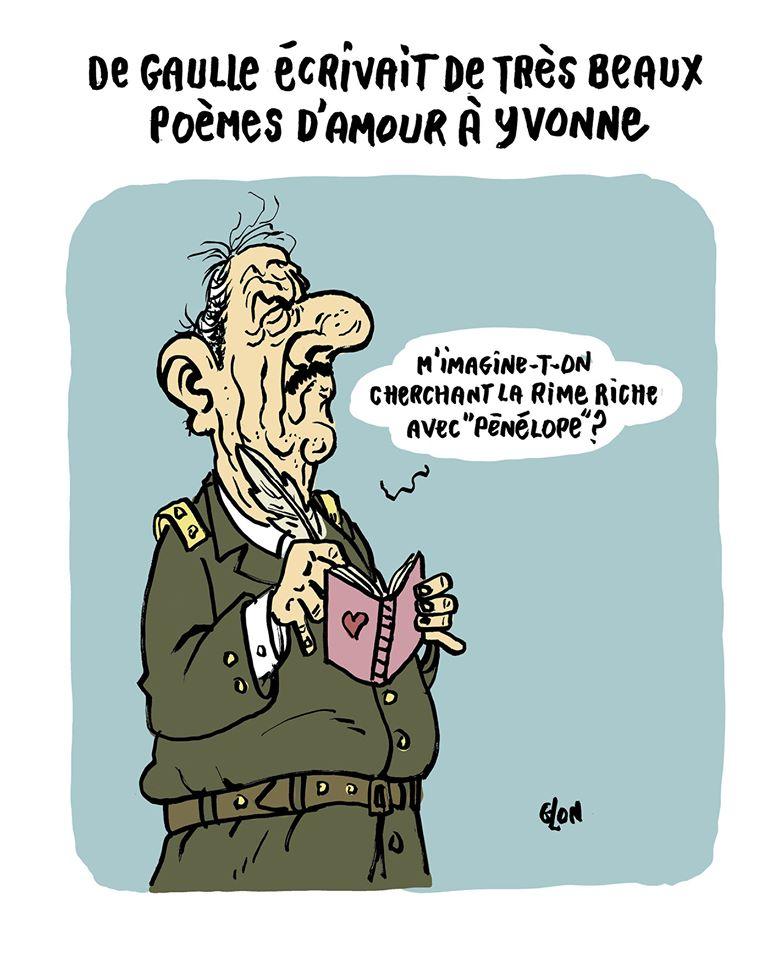 dessin humoristique de Glon sur le procès de François Fillon et Penelope Fillon et les poèmes d'amour qu'écrivait Charles de Gaulle à Yvonne