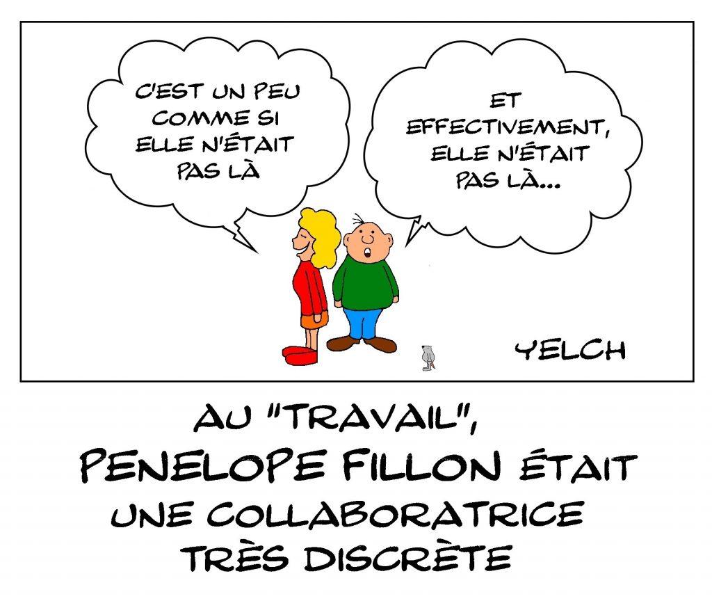 dessin de Yelch dessin de Yelch sur la difficile défense de François Fillon et Penelope Fillon lors de leur procès pour emploi fictif