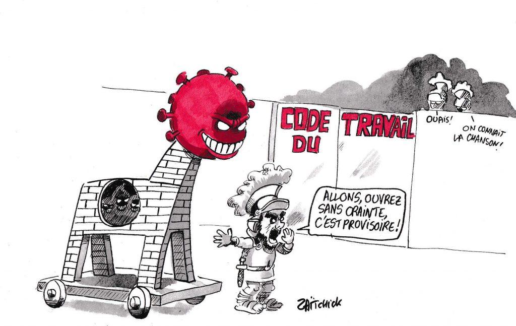 dessin de Zaïtchick sur l'épidémie de Covid-19 et le coronavirus comme cheval de Troie pour la destruction du Code du Travail