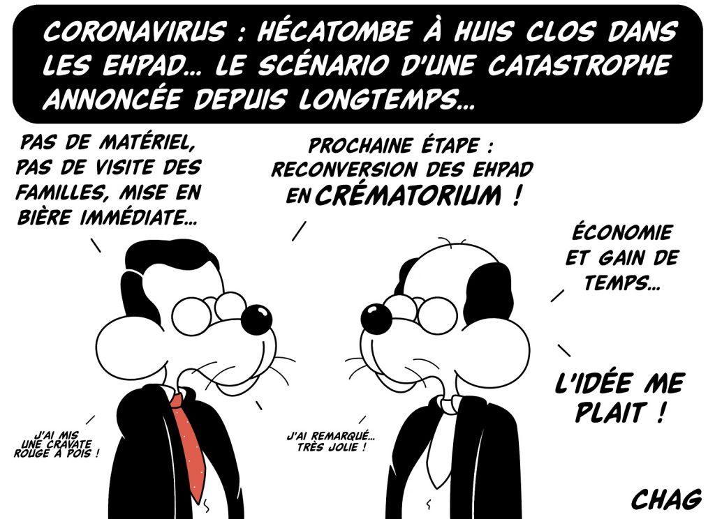 dessin d'humour de Chag sur l'épidémie de coronavirus Covid-19 et la gestion des Ehpad