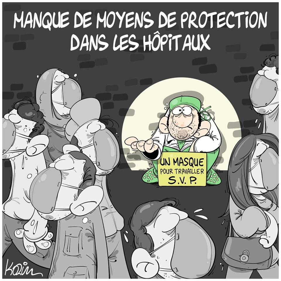 dessin d'actualité humoristique de Karim sur l'épidémie de Covid-19 et le manque de moyens dans les hôpitaux