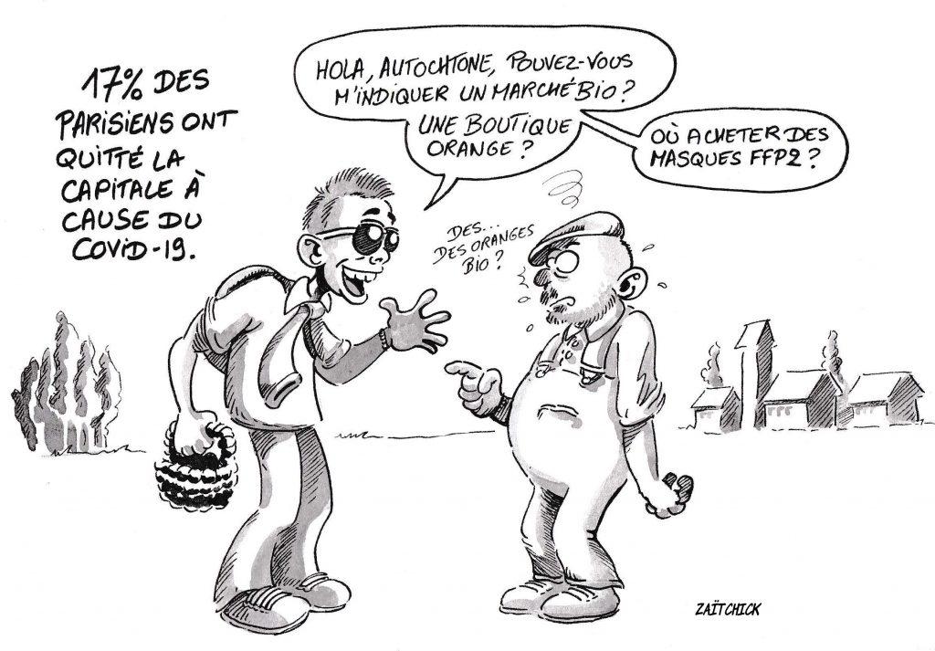 dessin de Zaïtchick sur l'épidémie de Covid-19 et l'exode des parisiens à l'annonce du confinement