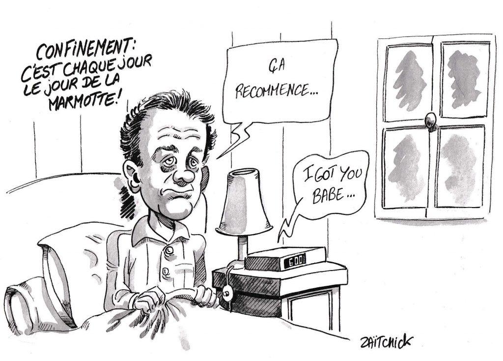 dessin de Zaïtchick sur l'épidémie de Covid-19 et le lent passage des jours de confinement